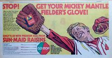 Sun-Maid Glove ad w/ Mickey Mantle New York Yankees - 1971 cartoon comic ad page