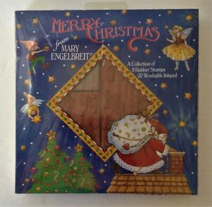 1994 Mary Engelbreit MERRY CHRISTMAS 9 RUBBER STAMP SET NEW Believe NIGHT MEDIA