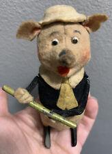 VINTAGE Schuco Tin Wind Up Toy Flute Playing Pig Clockwork W/ Key, Works!