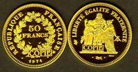 ★★ COPIE PLAQUéE OR DE L'ESSAI OR 50 FRANCS 1974  ★