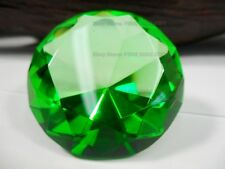 Small Crystal Cut Green Paperweight Faceted Prism Glass Art Glass Diamond