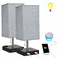 Minimalist LED Dual USB Bedside Table Lamp Square Fabric Shade Desk Light 2 Pack