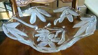 """Clear Large Glass Bowl with Embossed Frosted Flowers Lalique Style 12"""" x 3"""""""