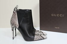 New sz 9 / 39 Gucci Black Leather Python cap toe Ankle Pointed Toe Bootie Shoes