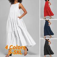 US Women Sleeveless Summer Beach Sundress Oversized Full Length Dress Tank Dress