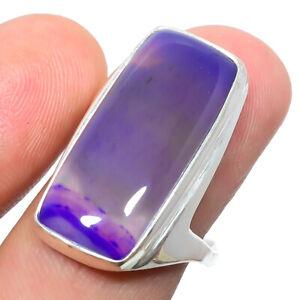 Purple Botswana Agate Gemstone 925 Silver Handmade Jewelry Ring s.9 S267