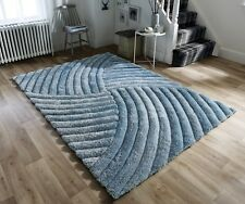 Verge Furrow Duck Egg Blue Handcarved Thick 3D Shaggy Rug in various sizes