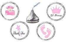 216 (54 ea of 4 designs) LITTLE PRINCESS BABY SHOWER Kisses Label Stickers Favor