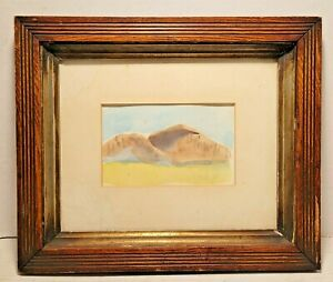 Antique American Partial Gilt Frame within a Frame with Landscape Watercolor NR!