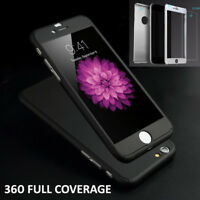 360° Hybrid Hard Ultra Thin Case +Tempered Glass Cover for iPhone 6 7 8 Plus X