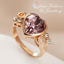 18K Rose Gold Filled Made With Swarovski Crystal Eternal Amethyst Heart Ring