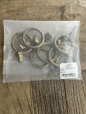 Restoration Hardware Loop Rings with Clips Brass Small 7 For Drapes 1 1/2in