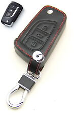 Leather Case Cover Holder For Toyota RAV4 Reiz Camry Crown Flip Key 3 Buttons 3B