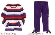 Gymboree Winter Penguin Purple Stripe Tee Crop Stretch Leggings Outfit Sz 5 NWT