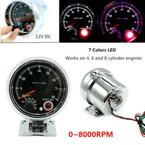 Fit For 4/6 / 8 Cylinder Engine 7Colors LED Car Tachometer Gauge 12V 0-8000 RPM