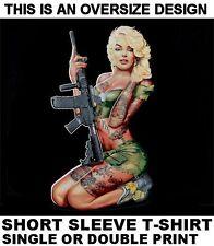 MARILYN MONROE 2ND AMENDMENT GUN RIGHTS ARMS AUTOMATIC RIFLE SKULL T-SHIRT 595