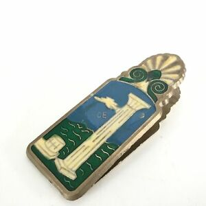 Vintage Brass Enamel Stone Crafted Greek Paper Clip - 10 x 4cm #323