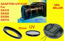 ADAPTER+UV FILTER+LENS CAP 52mm to CANON POWERSHOT SX410 SX420 SX500 IS SX510 HS