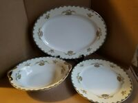 """Noritake """"ATHLONE"""" 3pc Set Oval Platter, Serving Bowl, and Dinner Plate,  416896"""