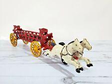 Vintage Cast Iron Horse-Drawn Fire Truck, Engine, Wagon w/ Ladders; Firemen Toy