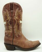 Pecos Bill Brown Leather Western Cowboy Cross Embroidered Boots Women's 6.5