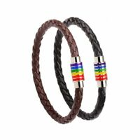 Fashion Rainbow Flag LGBT Pride Charm Unisex Gay Genuine Leather Bracelet Bangle