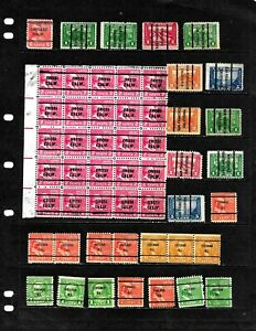 UNITED STATES :NICE 'PRE CANCEL' STAMP COLLECTION   DISPLAYED ON 6 SHEETS.