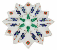 """7"""" Marble dry Fruit Bowl Floral handmade Inlay work art Home / kitchen Decor"""