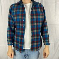 Vintage Large Pendleton Blue Brown Red Striped Flannel Wool Long Sleeve Shirt