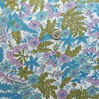 """Vintage Partial Feed Sack Lovely Ferns & Flowers Aqua, Pink, Olive  21""""x18"""""""