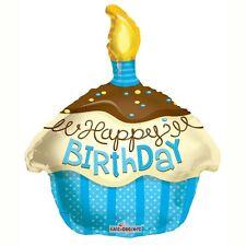 """Feliz Cumpleaños Azul Cupcake forma globo de la hoja de 18 """""""