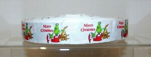 """Christmas Printed Grosgrain Ribbon 22mm (7/8"""") wide 1m 2m 5m The Grinch White"""