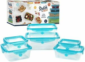 Stretch and Fresh 12 Piece Stretchable Silicone Airtight Food Storage Container