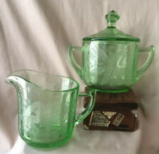 VTG Jeannette USA Floral Poinsettia Sugar Bowl & Creamer Green Depression Glass