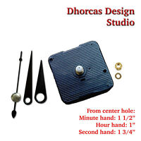 "(#23) Quartz Clock movement kit & 1.5"" Black hand CHOOSE 1/4"", 1/2"", 3/4"" motor"