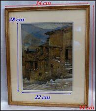 """A.Le Monnier vers 1927 """"Village de Montagne en Auvergne"""" Dessin rehaussé"""