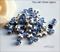 30 Swarovski ss10 Sapphire Blue Vintage Rose Montees Sew On Crystal stones 10ss