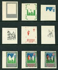 More details for indian 1951 christmas / tb research seal - colour trials - 9 prints - dg218