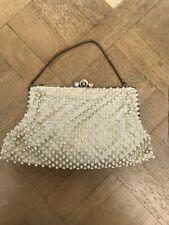 Ladies Women's Small Retro 50s Satin Cream & Faux Gem Vintage Evening Bag Purse