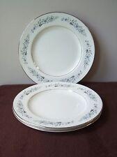 3 HOMER LAUGHLIN DINNER PLATE EGGSHELL CAVALIER GRAY BLUE FLOWERS PATINUM CV125