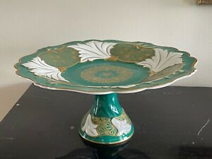 Vintage Weimar Porcelain Green and Gold Cake Stand