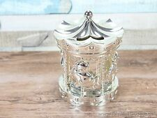 Silver plated carousel money box baby christening gift