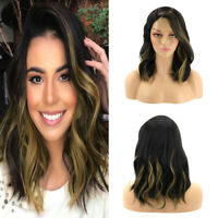 Women Medium Long Synthetic Hair Wig Ombre Black Brown Curly Wavy Wigs Cosplay