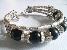 Ethnic Tibetan Silver Black Gemstone Bangle Bracelet Women Birthday Gift Wife GF