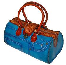 Genuine Leather Handbag/Jeans Designs,attractive Blue.truly Handmade,(Large)