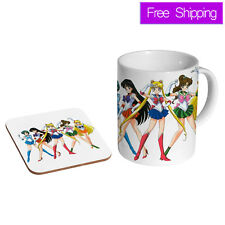 Sailor Moon Manga Anime Girls Ceramic Tea - Coffee Mug Coaster Gift Set