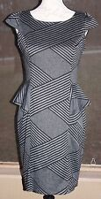 Women's En Focus Studio 8 Black Gray Striped Cap Sleeve Polyester Rayon Dress AF