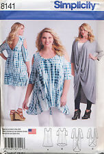 SIMPLICITY SEWING PATTERN 8141 WOMENS SZ 18W-24W COLD SHOULDER TUNIC, PLUS SIZES