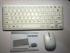 White Wireless Small Keyboard & Mouse Set for HP Touchsmart 520 Desktop Computer
