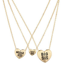 Lux Accessories Three Sisters Heart Charm Necklace Set